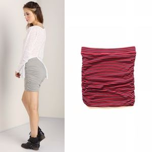 🦊 Splendid Ruched Striped Mini Skirt XS :134